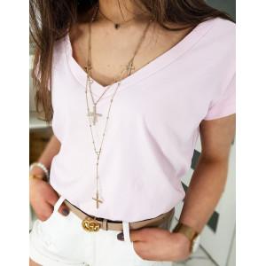 Jednofarebné dámske ružové tričko s výstrihom do V