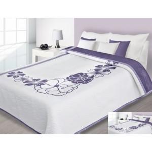 Biele prehozy na posteľ s fialovým kvetom