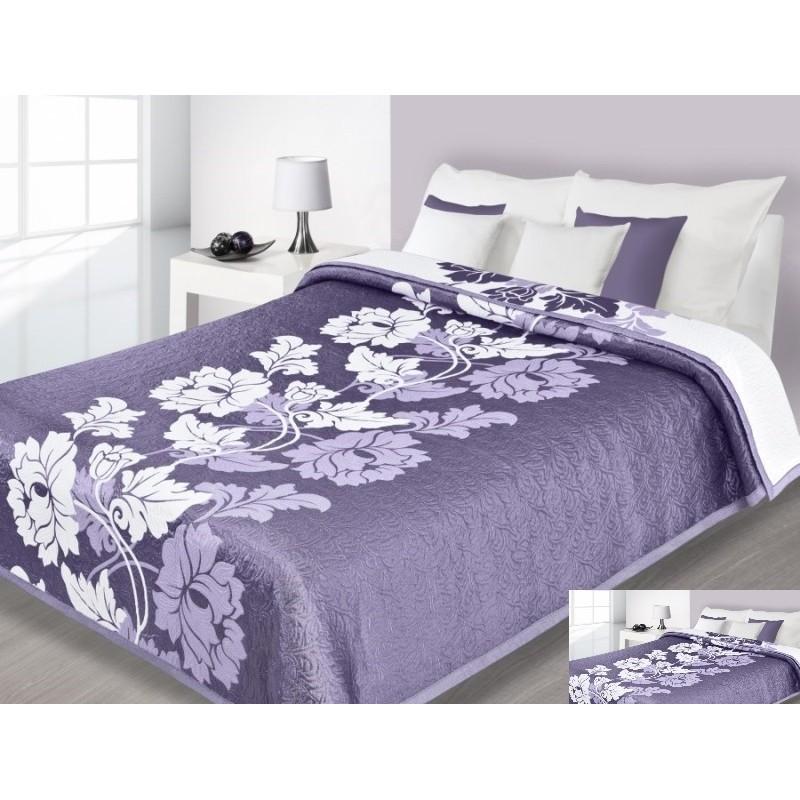100fc2c46 Prehoz na posteľ fialovej farby so vzorom bielych kvetov - fashionday.eu