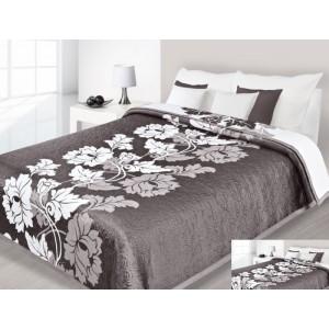Hnedo biely prehoz na posteľ s motívom kvetov
