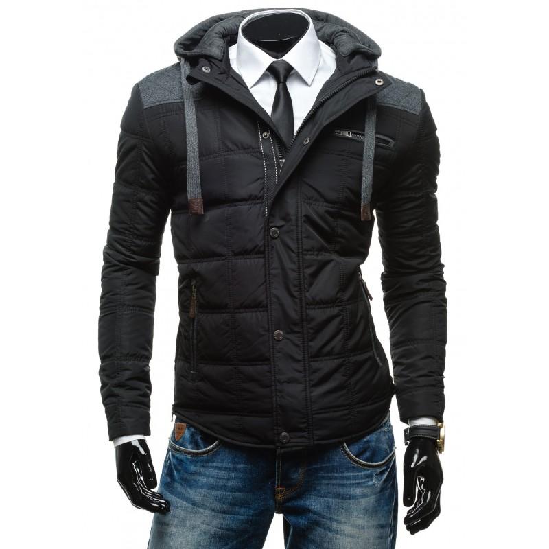 Čierna pánska zimná bunda s kapucňou - fashionday.eu 03790c04030
