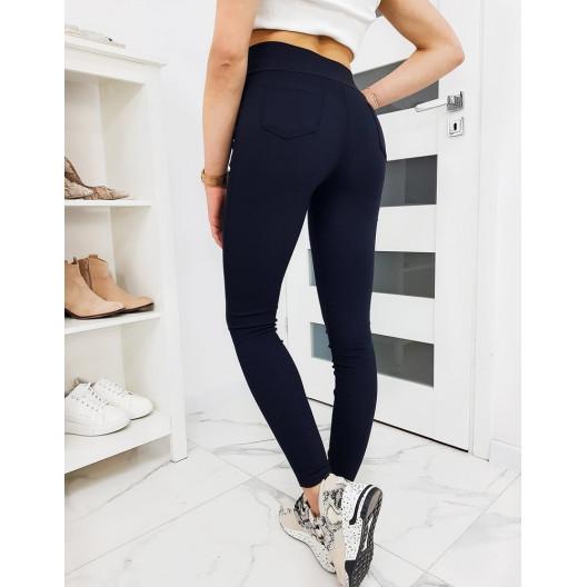Modré dámske nohavicové legíny s vysokým pásom