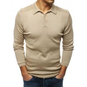 Pánsky štýlový béžový sveter s golierom