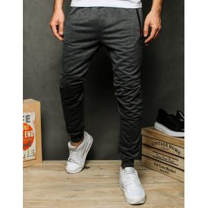 Čierno sivé pánske tepláky s vreckami na zips