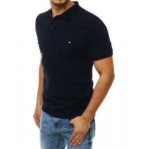 Tmavo modré pánske tričko s golierom a krátkym rukávom