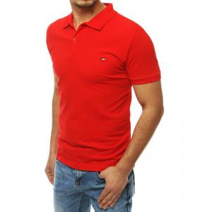 Červené pánske tričko s golierom a krátkym rukávom