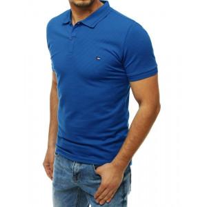 Pánske modré polo tričko s krátkym rukávom a nášivkou
