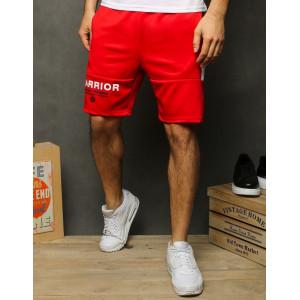 Červené pánske kraťasy nad kolená s nápisom