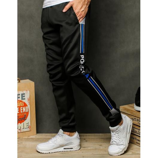 Športové tepláky pre pánov s modrými pruhmi čierne