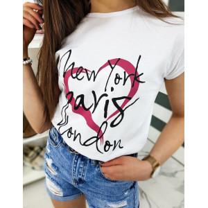 Trendy dámske biele tričko s nápismi miest