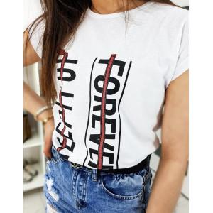 Štýlové dámske biele tričko s nápisom FOREVER