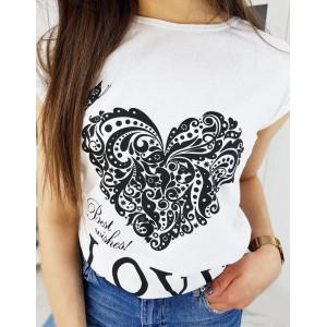 Krásne dámske biele tričko s potlačou srdca