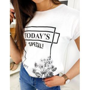 Dámske biele tričko s originálnym nápisom