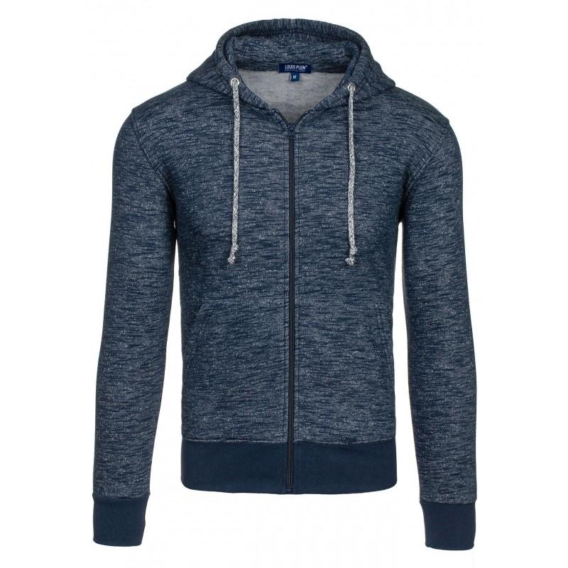 Pánska tmavo modrá mikina na zips s kapucňou - fashionday.eu e2c805527a3