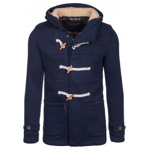 Pánsky zateplený kabát tmavo modrej farby s kapucňou