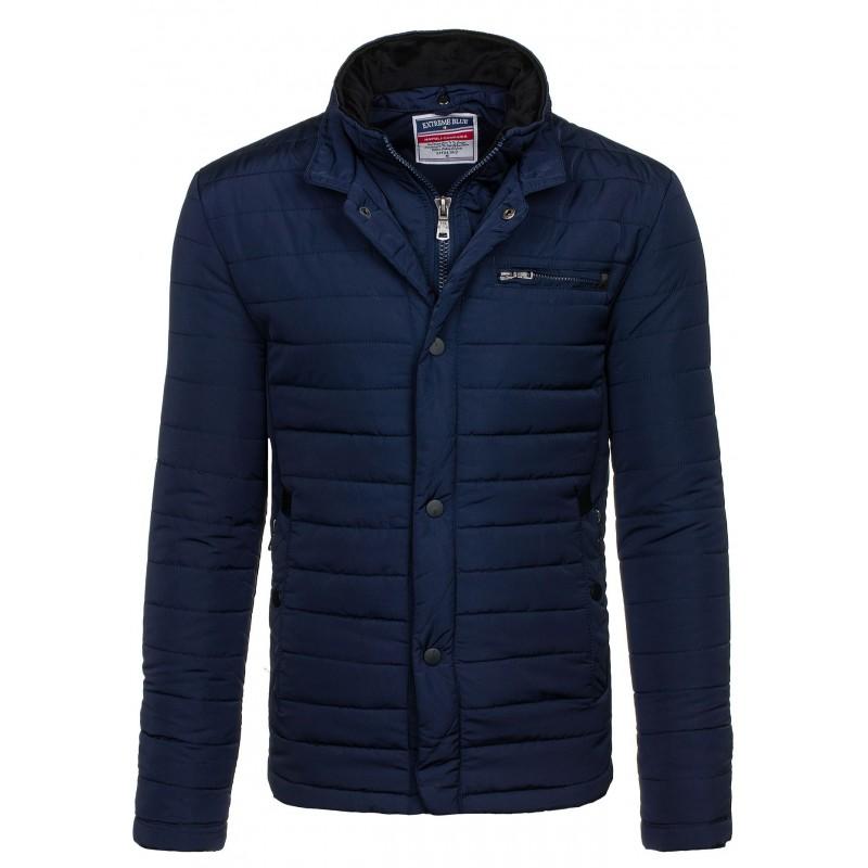 0bbaa4c0650a Pánske elegantné zimné bundy bez kapucne modrej farby - fashionday.eu