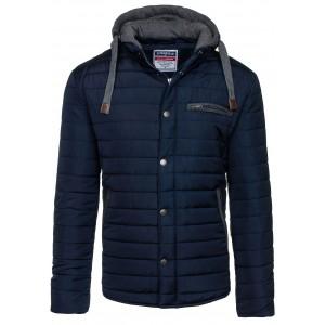 Moderné pánske zimné bundy s kapucňou tmavo modrej farby