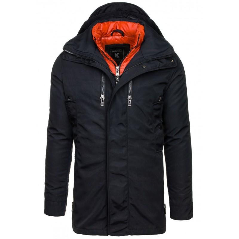 981c5b0f1b28 Čierna športová pánska zimná bunda s kapucňou - fashionday.eu