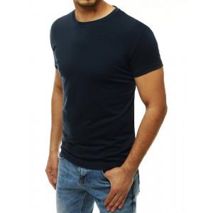 Jednofarebné pánske modré tričko
