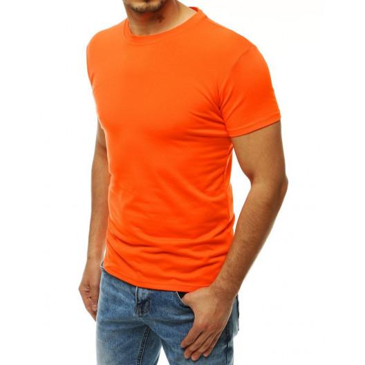 Oranžové jednofarebné pánske tričko s krátkym rukávom