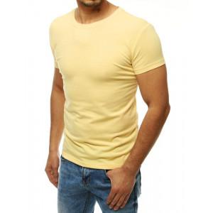 Trendy pánske jednofarebné svetlo žlté tričko s krátkym rukávom