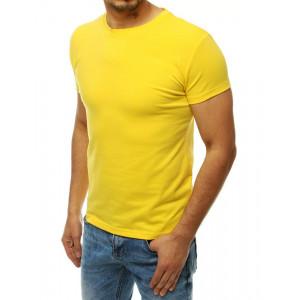 Jednofarebné pánske tričko v žltej farbe