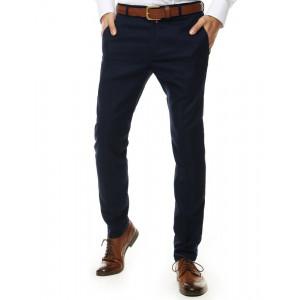 Spoločenské pánske modré nohavice klasického strihu