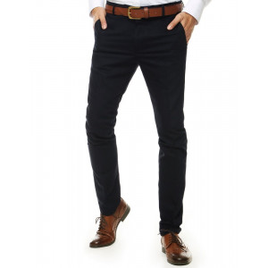 Tmavo modré pánske nohavice mierne zúženého strihu