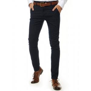 Štýlové pánske tmavo modré nohavice s pruhmi