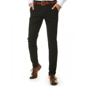 Pánske čierne chino nohavice s pásikmi