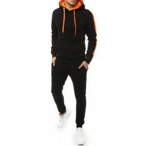 Pánska čierna tepláková súprava s kapucňou oranžovej farby