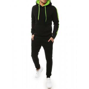 Pánska čierna tepláková súprava s kapucňou zelenej farby