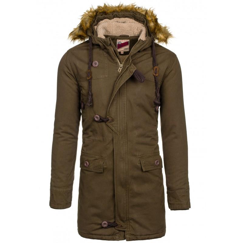 Dlhá pánska zimná bunda tmavo zelenej farby s kapucňou - fashionday.eu dc1563708cb