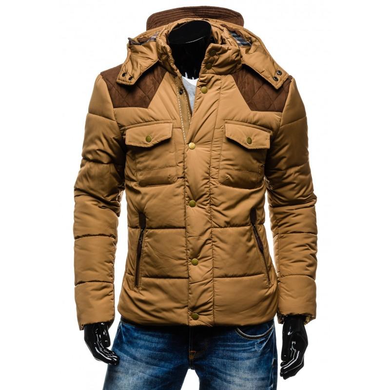 64a4d9ac8 Hnedá pánska zimná bunda s vreckami a kapucňou - fashionday.eu
