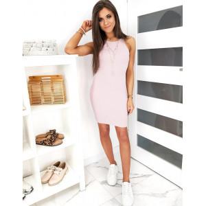 Letné dámske obtiahnuté mini ružové šaty