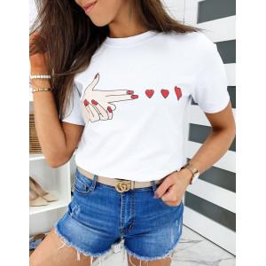 Originálne dámske biele tričko s motívom lásky