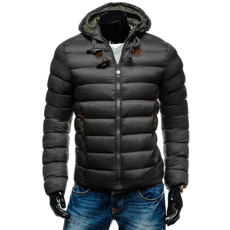 Tmavo sivá pánska bunda na zimu s kapucňou - fashionday.eu 731a353c2dd