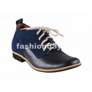 Pánske kožené topánky modro-čierne