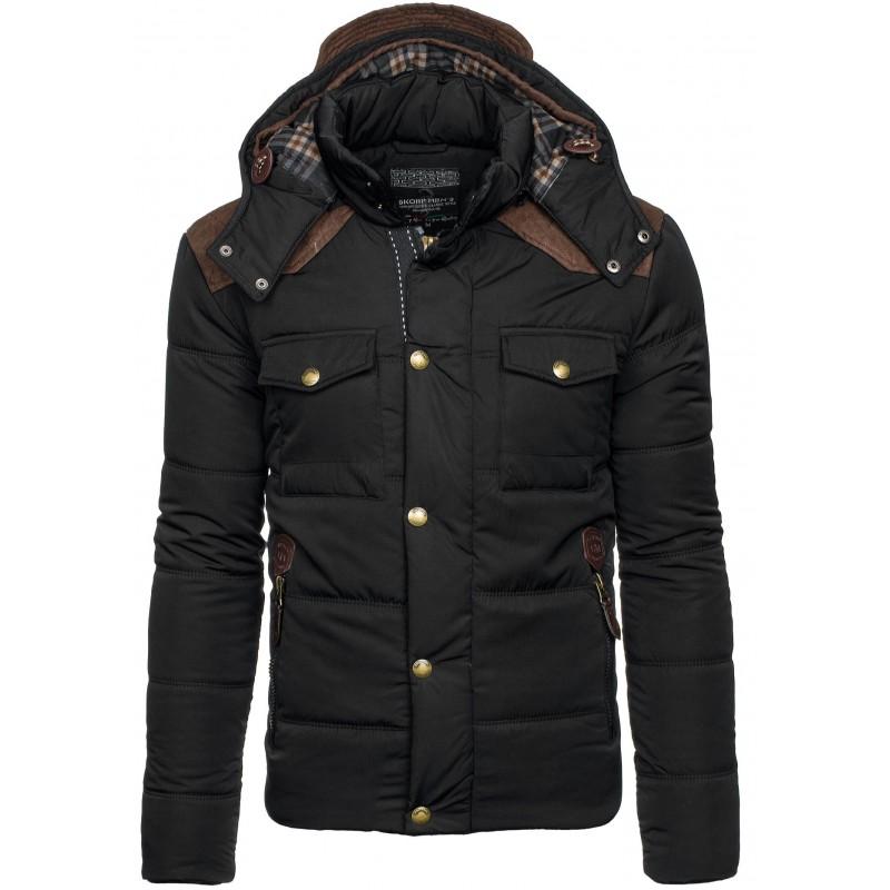 Čierna zateplená pánska zimná bunda - fashionday.eu 482e6afd666