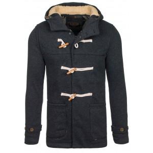 Pánsky športovo elegantný kabát čiernej farby