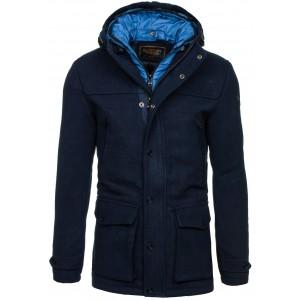 Elegantný pánsky kabát tmavo modrej farby