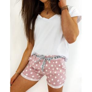 Letné dámske ružové bodkované šortky