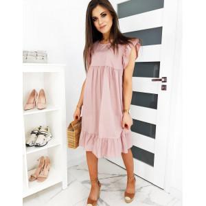 Letné dámske ružové šaty voľného strihu