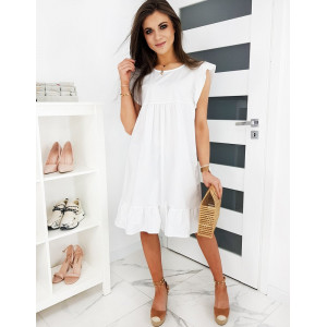 Biele dámske letné šaty s volánmi