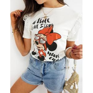 Biele dámske tričko s krajkou a potlačou MINNIE LOVE