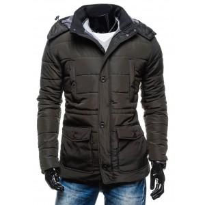 Tmavosivá pánska zimná bunda s odopínacou kapucňou