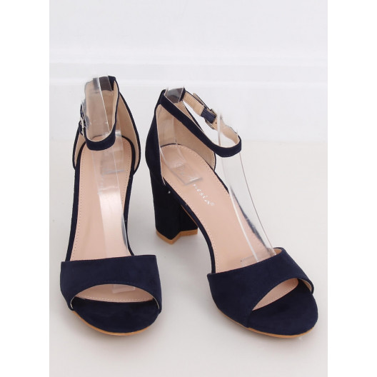 Krásne dámske modré semišové sandále s otvorenou špičkou