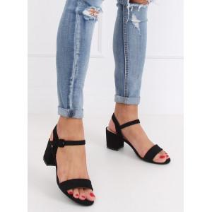 Elegantné dámske čierne sandále na vysokom opätku