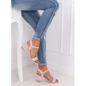 Ružové dámske semišové sandále s viazaním na remienok