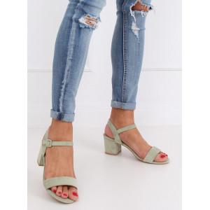 Semišové dámske zelené sandále na módnom opätku